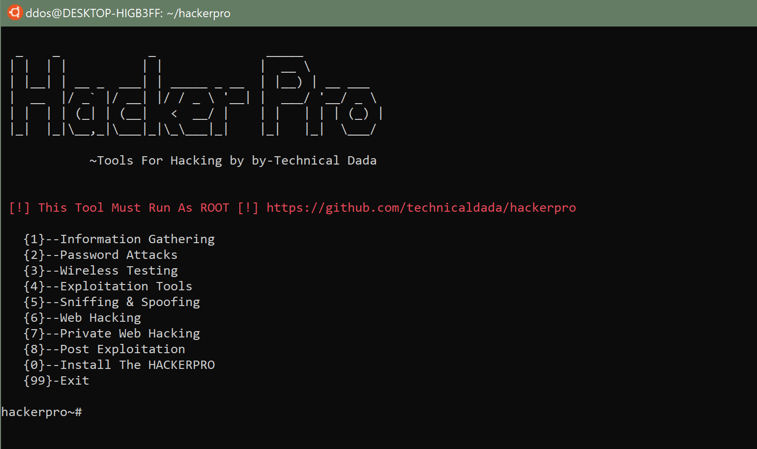 hackerpro: ferramenta All in One Pentesing para Linux e Android